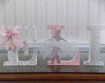 ballerina letters pink silver letters free standing letters wall hanging letters baby shower gift girls bedroom nursery decor