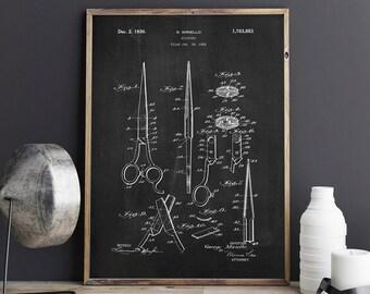 Schere Patent, Schere Poster, Wandbilder Kunstdruck, Retro Patent Poster,  Friseur