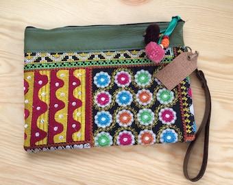 Green Leather Cosmetic Wristlet Purse with Tribal Fabric/ Multicolor Wristlet Purse with Pom Poms/Boho Cosmetic Handbag/Hippie Handbag