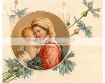 Instant Download Printable Art -  Mother and Child Madonna Baby Blue Flowers Antique Vintage Image - Altered Art Paper Crafts Scrapbooking