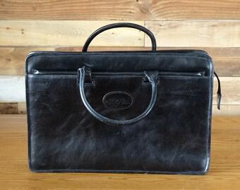 Vintage Black Leather School Bag - Bugatti Messenger Bag -  Leather Teacher Bag - School Briefcase - Laptop Case - Business Bag-Retro Bag