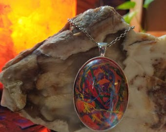 Handmade Embroidery Floss Oval Pendant in a Bottle Rainbow