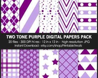 Two Tone Purple Patterns Digital Paper Pack - Commercial Use, Star, Striped, Vintage, Grunge, Fish Scale, Scrapbook,