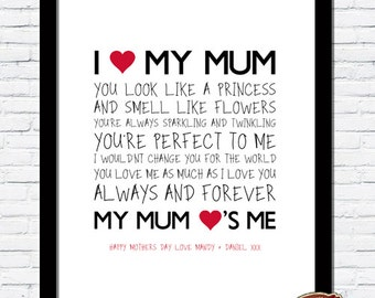 Bespoke Art Personalised Mother's Day Unique Word Art Print, Birthday Gift, I LOVE MY MUM A4 Print