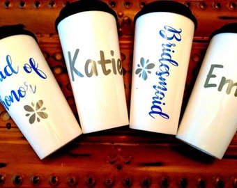 Bridal party coffee mugs, travel mugs for bride, bridesmaid gifts, bridal party gift, maid of honor coffee mug, bridesmaid coffee mug