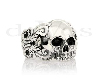 Skull Ring - Scroll Half Skull Ring
