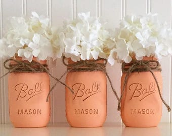 Painted Mason Jars, 3 Peach Mason Jars, Mason Jar Decor, Distressed Mason Jar, Mason Jar, Mason Jar Vase, Centerpiece, Country Wedding Jars
