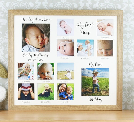 Keepsake 1st Birthday Gifts: My First Year, Personalised Oak Photo Frame, First