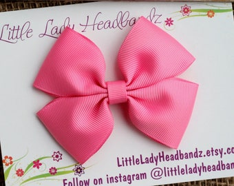 Pink Bow Boutique Bow pink hair bow girls ribbon bow large bow bubblegum pink