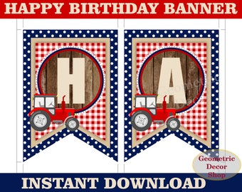 Tractor Happy Birthday Banner Printable Rustic red blue plaid Farm INSTANT DOWNLOAD BNTractor2