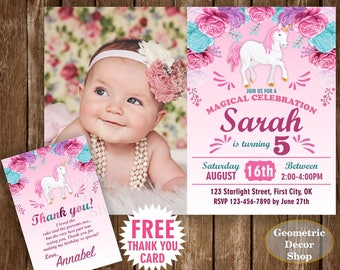 Unicorn Birthday Invitation Purple Invitations Girl Invite Pink Invites Magical Day FREE Thank you card Floral Flowers photo photograph DU27