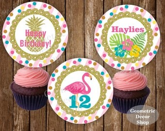 Flamingo Cupcake Toppers Tropical Birthday Pool Party Beach Luau Pink Gold Hawaiian topper baby girl 2 inch circle Digital Printable CTFL3