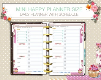 Daily Schedule Mini Happy Planner Hourly Insert Printable Undated Pdf Instant Download