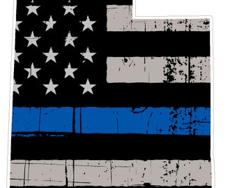 Utah State (V44) Thin Blue Line Vinyl Decal Sticker Car/Truck Laptop/Netbook Window