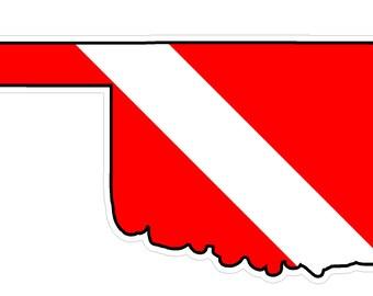 Oklahoma State (B37) Diver Down Flag Yeti Tumbler Decal Sticker Laptop