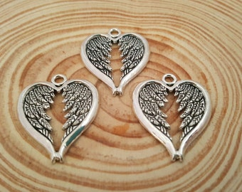 4 Heart Angel Wings Charms   Double Wing Charms