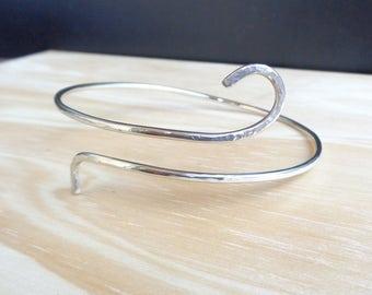 Sterling Silver 925 Upper Arm Bracelet -Minimalist Arm Band-German Silver -Upper Arm Bracelet Hammered -Silver Armband