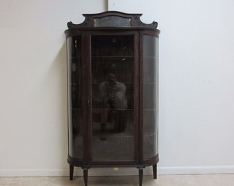 Antique Tiger Oak Bow Glass Curio Cabinet Display Hutch