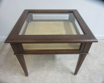 Ethan Allen Georgian Court Lamp End Table Glass Display Cabinet