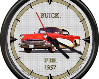 1957 Buick Special Red White Convertible Retro Vintage Sign Wall Clock
