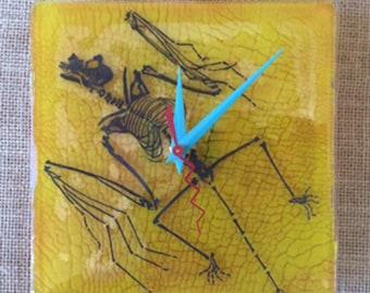 Bat Fossil Fused Glass Wall Clock