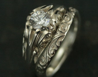 Cleopatra--Sterling Silver Bridal Set--Belcher Setting--Antique Style Ring--Vintage Style Ring--Victorian Style Ring--Silver Belcher Ring