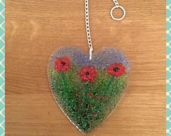 Heart, Poppy, Poppies, Fused Glass Suncatcher, Light Catcher, Glass Art, Fused Glass, Fused Glass Wall Art, Suncatcher, Minerva Hot Glass