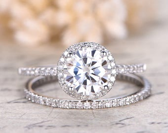 charles colvard moissanite ring moissanite engagement ring diamond wedding band solid 14k white gold bridal - Engagement Wedding Ring Set