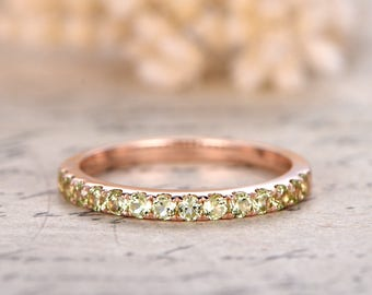 14K Rose Gold Wedding Band Full Eternity Ring Peridot Engagement Ring Stackable Ring Pave Peridot Ring Peridot Wedding Ring
