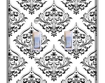 Damask Black White Light Switch Plate Cover Girls Nursery Decor Pattern Print
