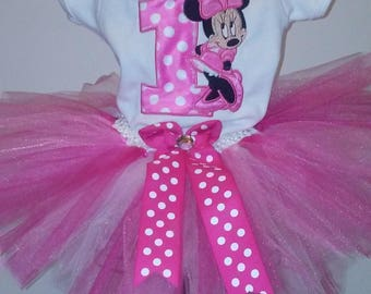 Pink Minnie Mouse 1st Birthday Outfit Minnie Mouse 1st Birthday Outfit Minnie Mouse Birthday Shirt Pink Minnie Mouse Shirt Personalized