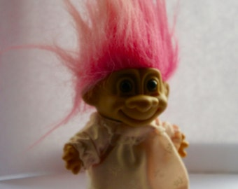 Vintage 1980s 5 Inch Excluding Hair Russ Berrie Pink Girl Troll Doll In Pink Nightie, Collectible, Gift For Sister, Friend, Daughter