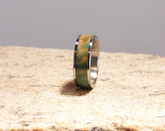 Green Ash Burl and Titanium inlay ring Dyed green Ash Burl inlay Titanium and wood inlay ring Stabilized and Dyed Burl Wood ring