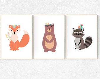 woodland nursery decor baby room decor forest animal prints animal nursery art