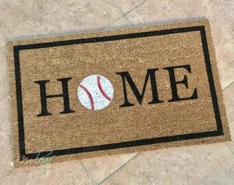 Home Doormat - Baseball Doormat - Baseball Decor - Home Baseball Door Mat - Outdoor Mat - Home Mat