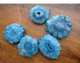 ON SALE 50% Blue Solar Quartz, Stalactite Slice, Natural Solar Quartz Slices, Drilled, 5 Pieces, 25mm To 30mm Each