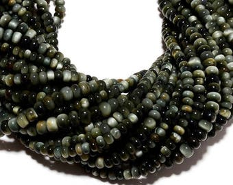 ON SALE 50% Cats Eye Chrysoberyl, Cats Eye Rondelle Beads, 6mm Beads, 14 Inch strand