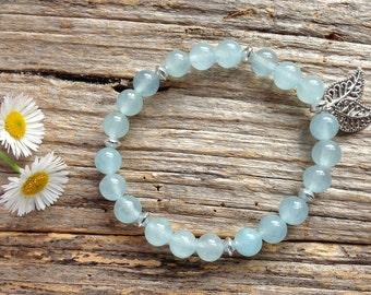 Ice Blue Brazilian Aquamarine Gemstone Bead Bracelet, Gift, Birthday, Christmas