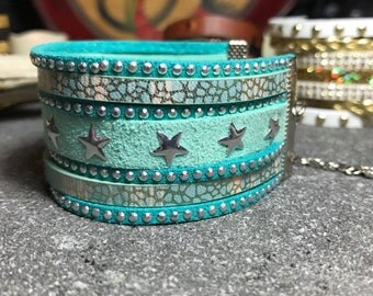 Green suede and stars Cuff Bracelet