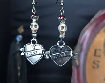 Earrings love heart - old school tattoo pinup - skull
