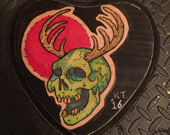"""Neotraditional Skull Painting by Kevin Thrun - 6""""x6"""" - Wood Canvas"""