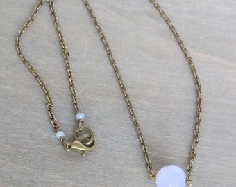 Simple Purple Necklace - Faceted Purple Pendant, Lavender Necklace, Simple Necklace, Dainty Necklace, Minimal Necklace, Bronze Necklace