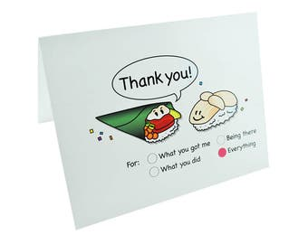 Sushi Thank You Note Cards, Funny Stationery Set, Funny Thank You Card, Cute Sushi Cards, Cute Thank You Cards, Japanese Note Cards, Cool
