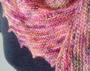Handknit pastel colored teethed shawl/wrap *Ready to Ship*