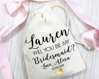 Will you be my Bridesmaid gift bag. Personalised cotton bag. Wedding day keepsake bag.
