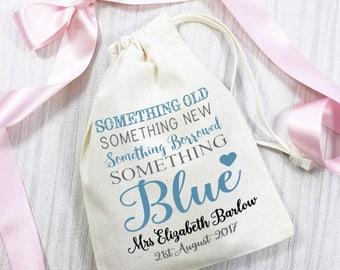 Sacchetto del cotone qualcosa in prestito, qualcosa di blu, personalizzato per la sposa di essere. Regalo di nozze giorno keepsake.