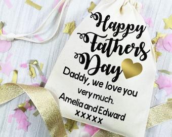 Sacchetto regalo festa del papà. Sacchetto del regalo di cotone personalizzata per papà. Idea regalo per il giorno di padri felice.