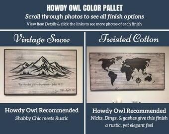 Color Pallett for Howdy Owl World Maps, please visit our shop to see our line of World & US Maps, as well as our Wood Wall Art