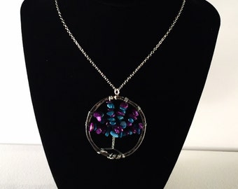 Tree of Life Pendant- Blue and Purple Beaded and Wire Wrapped Pendant