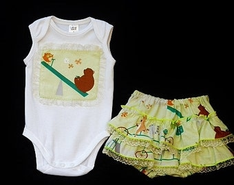 "Baby girl woodland outfit, 2 piece outfit,Clothing for girls, Ruffled diaper, size 3-6 months, ""READY TO SHIP"""